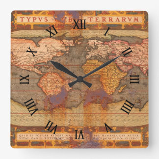 Rusty Antique Old World Map History Designer Clock