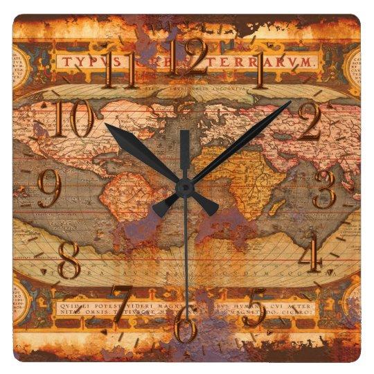 Rusty Antique Old World Map History Designer Clock