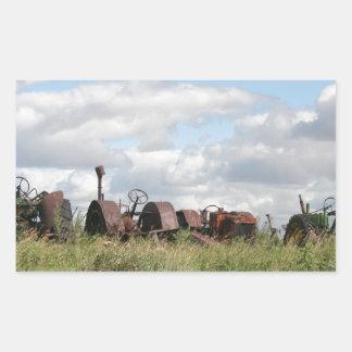 rusty antiques waiting rectangular sticker