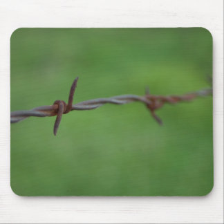 Rusty barb wire fence mouse pad
