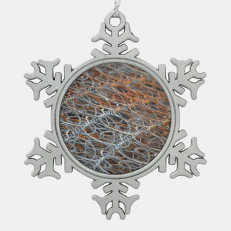 rusty bed springs steampunk industrial snowflake pewter christmas ornament