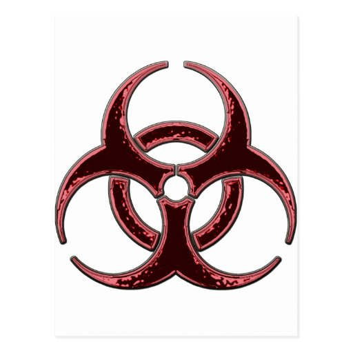 Rusty Bio Hazard Symbol Postcard