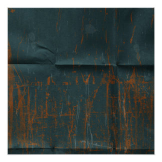 Rusty Blue Creased Paper Background Poster