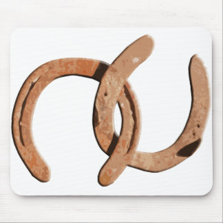 Rusty Brown Horse Shoes Mousepads