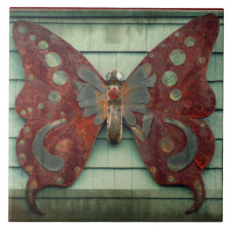 Rusty Butterfly Large Square Tile