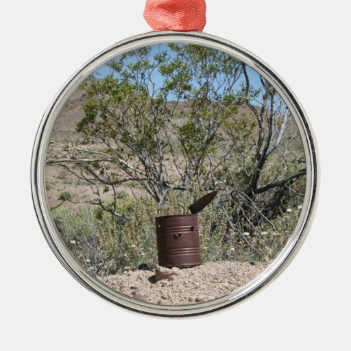 Rusty Can with bullet holes Round Metal Christmas Ornament
