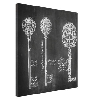 Rusty Chalkboard Victorian steampunk skeleton keys Canvas Print