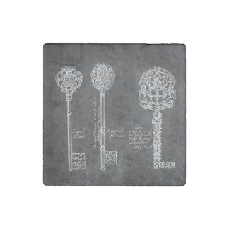 Rusty Chalkboard Victorian steampunk skeleton keys Stone Magnet