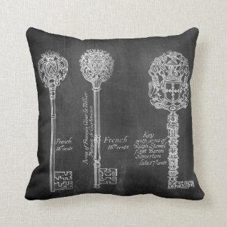 Rusty Chalkboard Victorian steampunk skeleton keys Throw Pillow