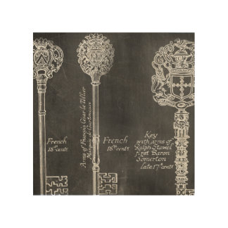 Rusty Chalkboard Victorian steampunk skeleton keys Wood Print