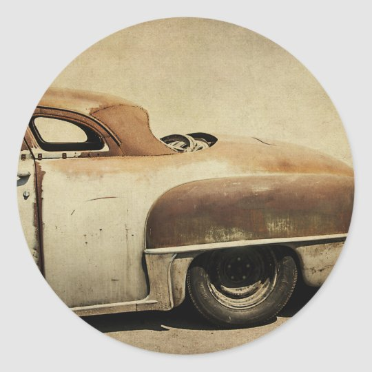 Rusty Chrysler De Soto Classic Round Sticker