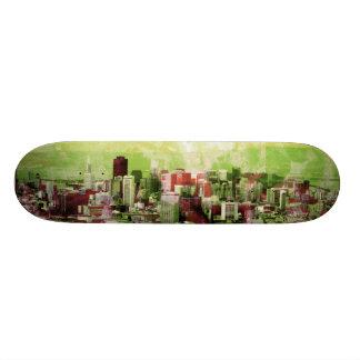 rusty city light green skateboard deck