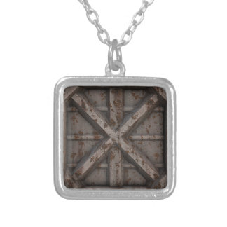 Rusty Container - Beige - Silver Plated Necklace