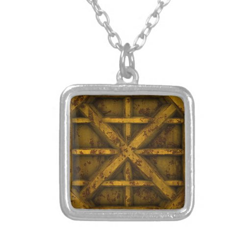 Rusty Container - Yellow - Square Pendant Necklace