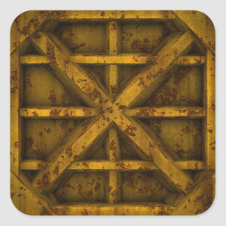Rusty Container - Yellow - Square Sticker