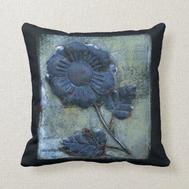 Rusty Distressed Metal Sunflower Texture Blue Throw Pillows