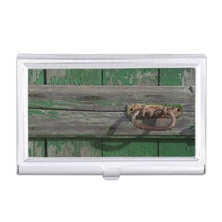 Rusty Door Handle On Green Door Business Card Holder
