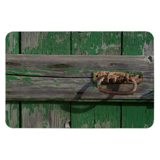 Rusty Door Handle On Green Door Magnet