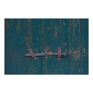Rusty Door Latch On Green Door Poster