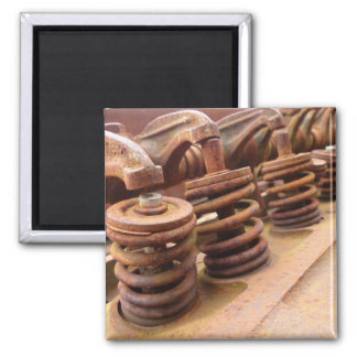 Rusty Engine Block 2 Inch Square Magnet