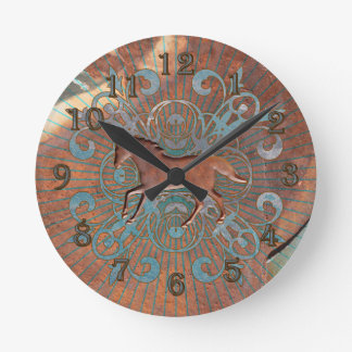 Rusty Equestrian Wall Clock