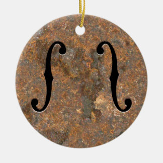 Rusty F-Holes Ceramic Ornament
