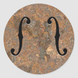 Rusty F-Holes Classic Round Sticker