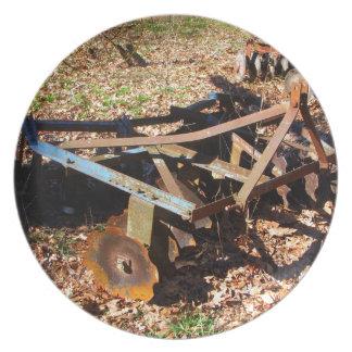 Rusty Farm Field Equipment Dinner Plate