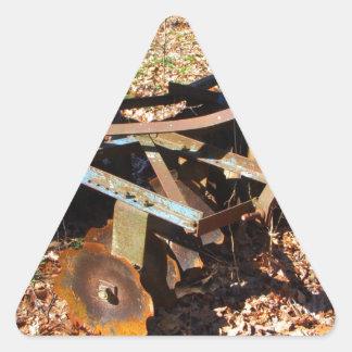 Rusty Farm Field Equipment Triangle Sticker