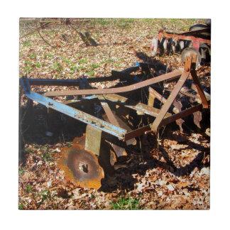 Rusty Farm Field Equipment Small Square Tile