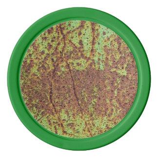 Rusty green look poker chip set