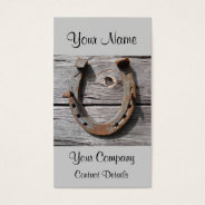 Rusty Horseshoe On Wooden Wall Rural Business Card at Zazzle