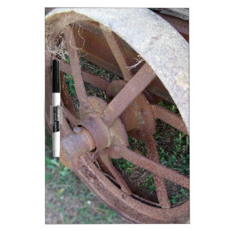 Rusty iron wheel of old cart Dry-Erase whiteboards