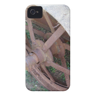 Rusty iron wheel of old cart iPhone 4 cover