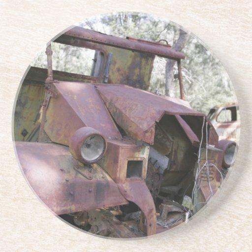 Rusty Junk Yard Cars-  Coaster