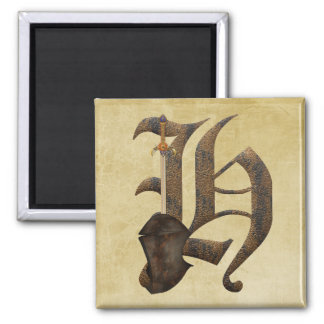 Rusty Knight Initial H 2 Inch Square Magnet