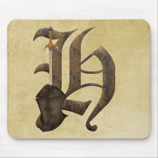 Rusty Knight Initial H Mouse Pad