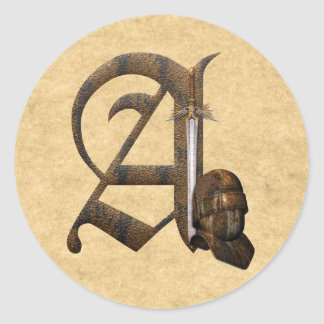 Rusty Knights Initial A Classic Round Sticker