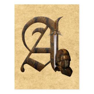 Rusty Knights Initial A Postcard