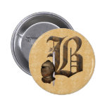 Rusty Knights Initial B 2 Inch Round Button