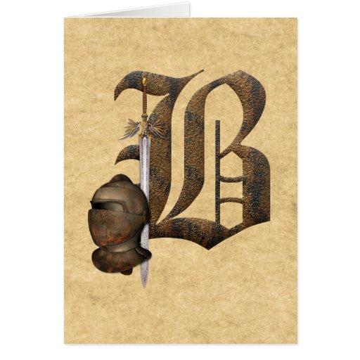 Rusty Knights Initial B Greeting Card