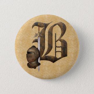 Rusty Knights Initial B Pinback Button
