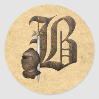 Rusty Knights Initial B Round Stickers
