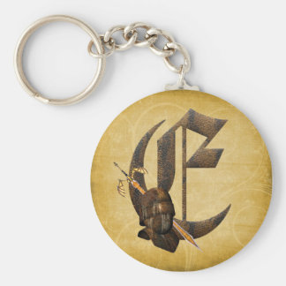 Rusty Knights Initial E Keychain