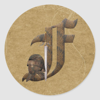 Rusty Knights Initial F Classic Round Sticker