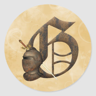 Rusty Knights Initial G Round Sticker