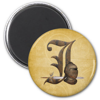 Rusty Knights Initial J 2 Inch Round Magnet