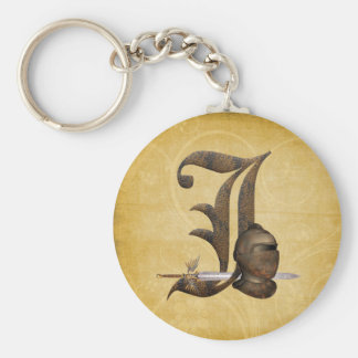 Rusty Knights Initial J Basic Round Button Keychain