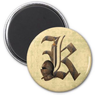 Rusty Knights Initial K 2 Inch Round Magnet