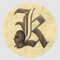 Rusty Knights Initial K Classic Round Sticker